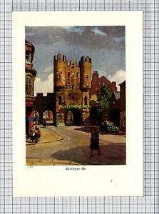 C966-YORK-Micklegate-Bar-Leonard-Squirrell-c-1950-Print