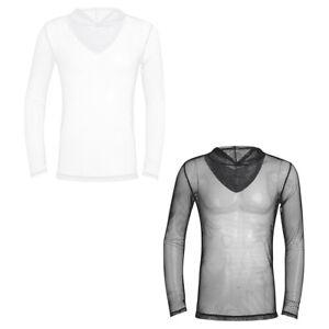Men-039-S-Manica-Lunga-Rete-Mesh-Vedere-attraverso-Felpa-con-cappuccio-Felpa-con-cappuccio-Clubwear