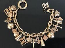 Vintage Versace Gold Tone Metal Charm Bracelet Authentic