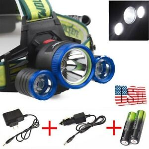 Zoomable T6 LED Flashlight Headlight Headlamp Tactical 50000LM Torch /& Charger l