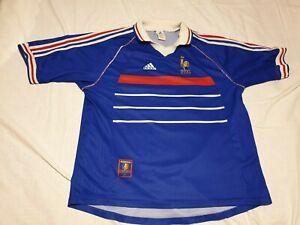 maillot adidas france 98 taille xl 1998 bleu didier deschamp