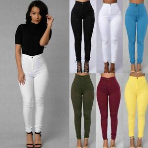 Jeans De Mujer Pantalones De Moda Cintura Alta Vaqueros Ropa Pantalon Delgado Ebay