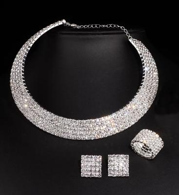 Clever 3tlg. Schmuckset Halskette-ohrringe-ring Silber Pl.+strass Neu Hoher Standard In QualitäT Und Hygiene