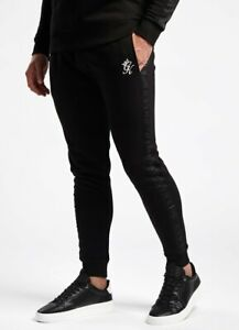 Gym-King-Mens-New-Joggers-Tracksuit-Bottoms-Tape-Text-Black