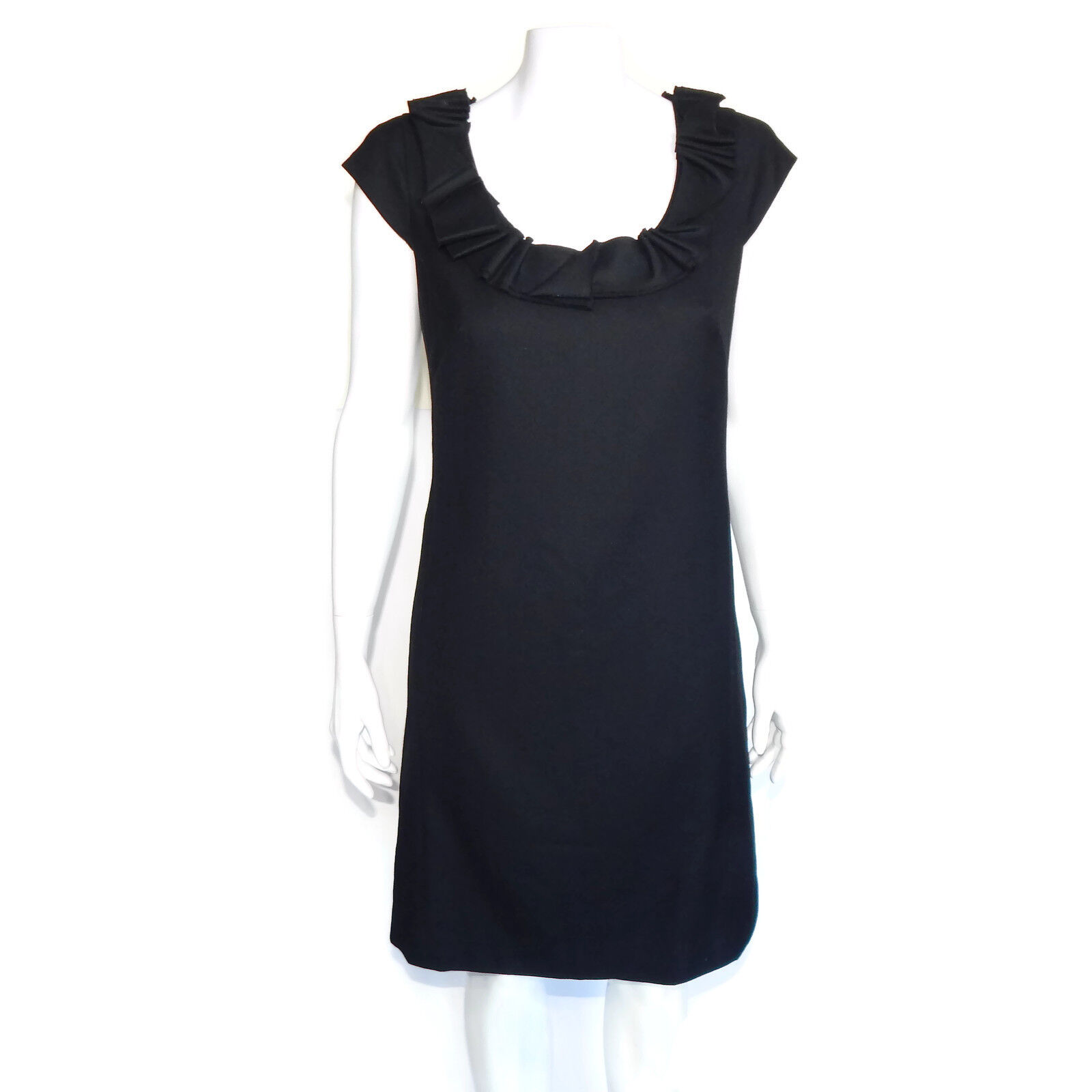 J. CREW schwarz Wool Ribbon Ravine Cap Sleeve Career Dress Sz - 4  4036
