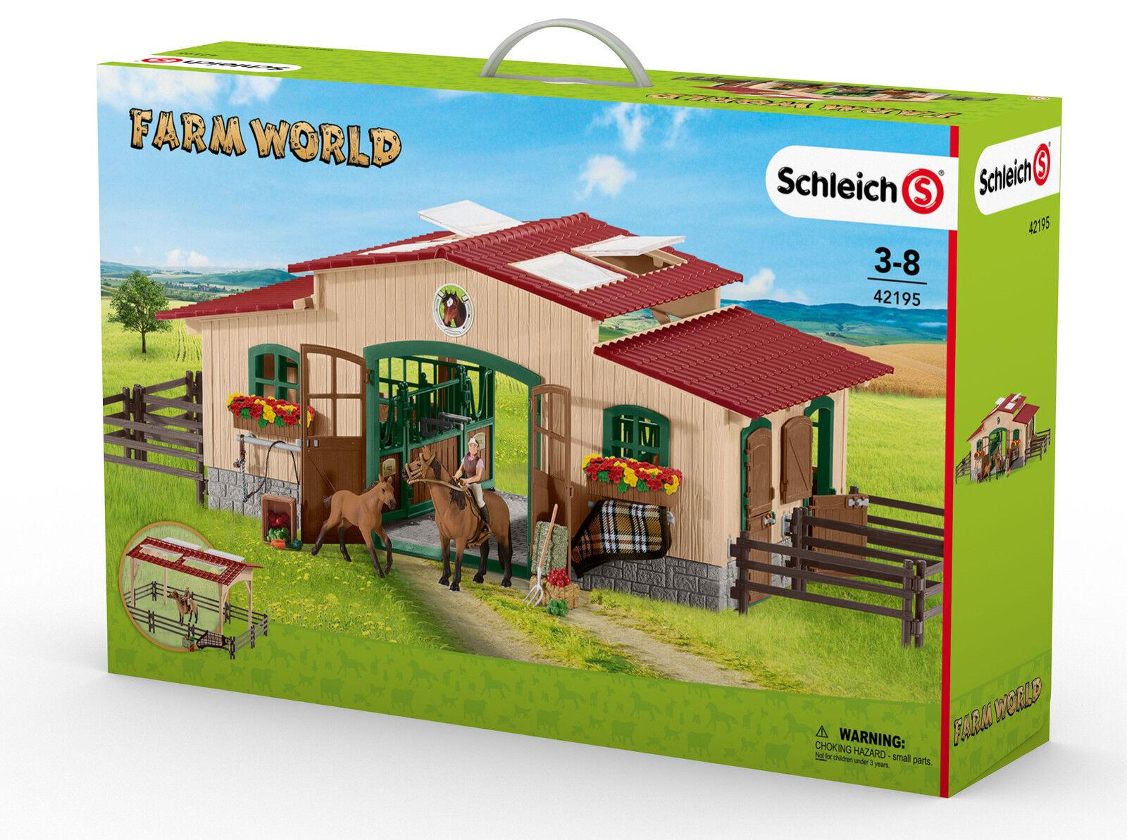 hermoso Schleich granja World. World. World. 42195 cuadra con caballos y accesorios nuevos  barato y de alta calidad
