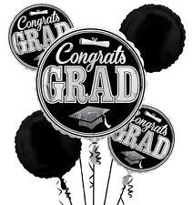 Anagram CONGRATS GRAD 7pc Balloons Set GRADUATION Party Decorations SILVER BLACK