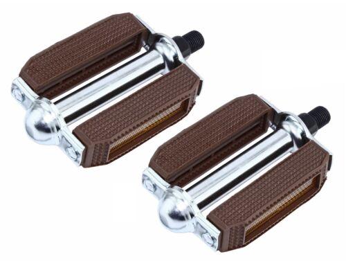 "Original Brown Bicycle Block Pedals 1//2/""  BMX Beach  Cruiser Bike Pedal NEW"