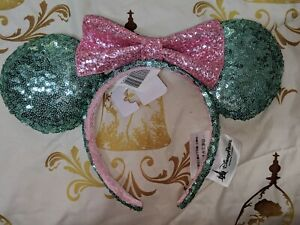 Disney-Parks-Minnie-Mouse-Sequined-Mint-and-Pink-Ears-Headband-with-Bow-NEW