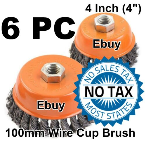 "100mm 115mm 6 Wire Cup Brush Wheel 4/"" Angle Grinder Twist Knot for 4-1//2/"""