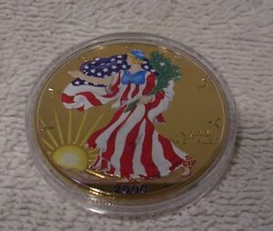 American Silver Eagle Dollar 2000 Colorized U.S Golden Enhanced on Both Sides