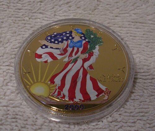2000 Colorized U.S American Silver Eagle Dollar Golden Enhanced on Both Sides