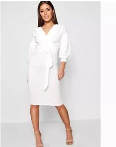 fa7c874364 Boohoo White Petite Nina Off The Shoulder Wrap Midi Dress - Size 16 ...