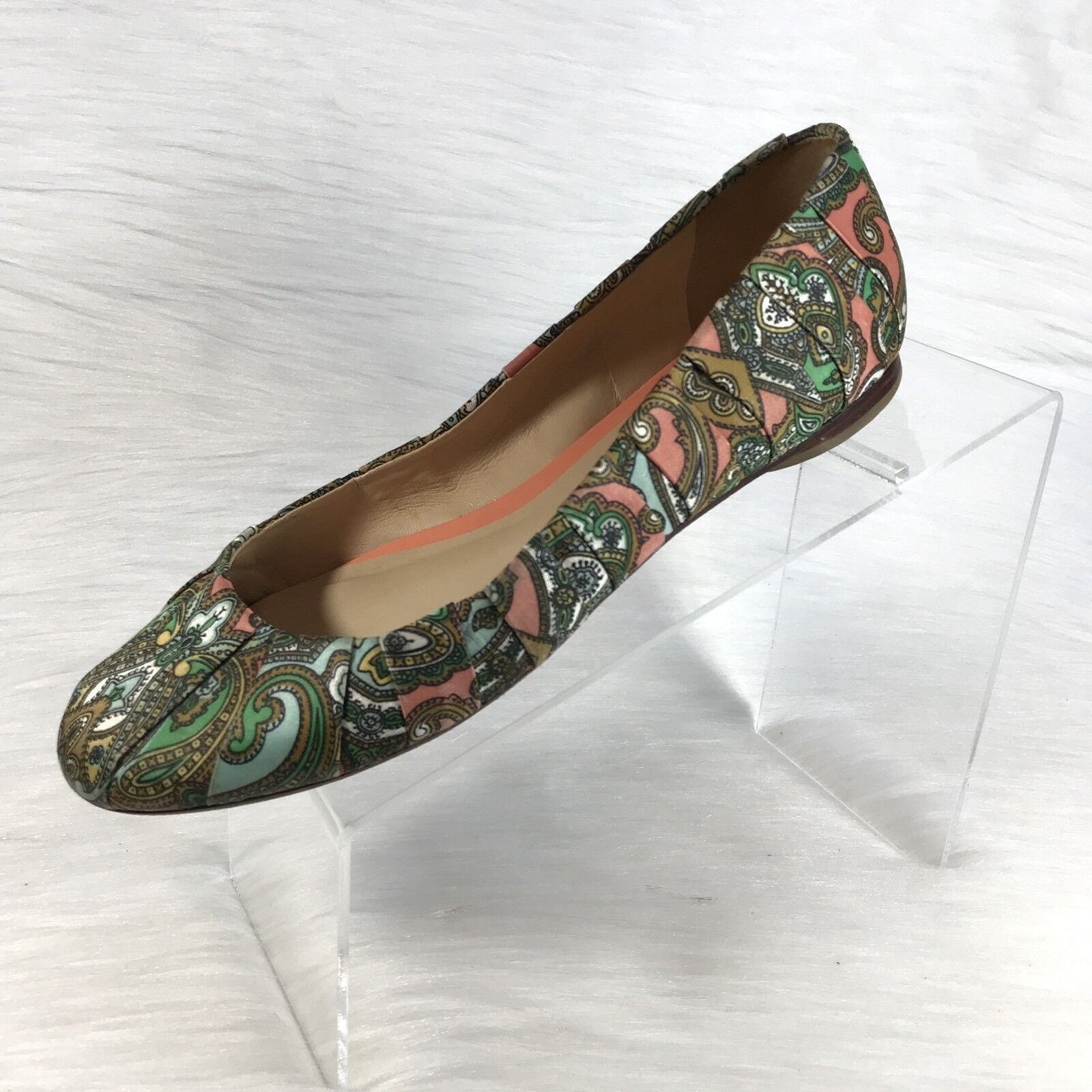 Talbots Ballet Flats Green Pink Parsley Canvas Slip on shoes Size 8.5 W