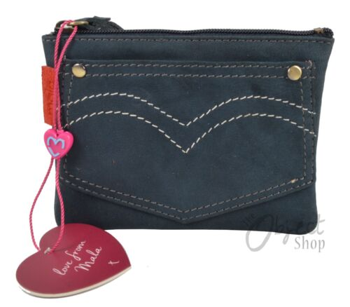 Mala Leather Pinky Denim Jeans Style Coin Purse Wallet Key Chain Pocket Designs