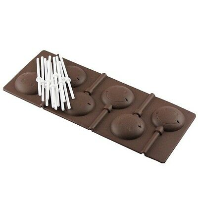 New Silicone Cake Cookie Mold Chocolate Muffin Candy Soap Lollipop Mould + Stick