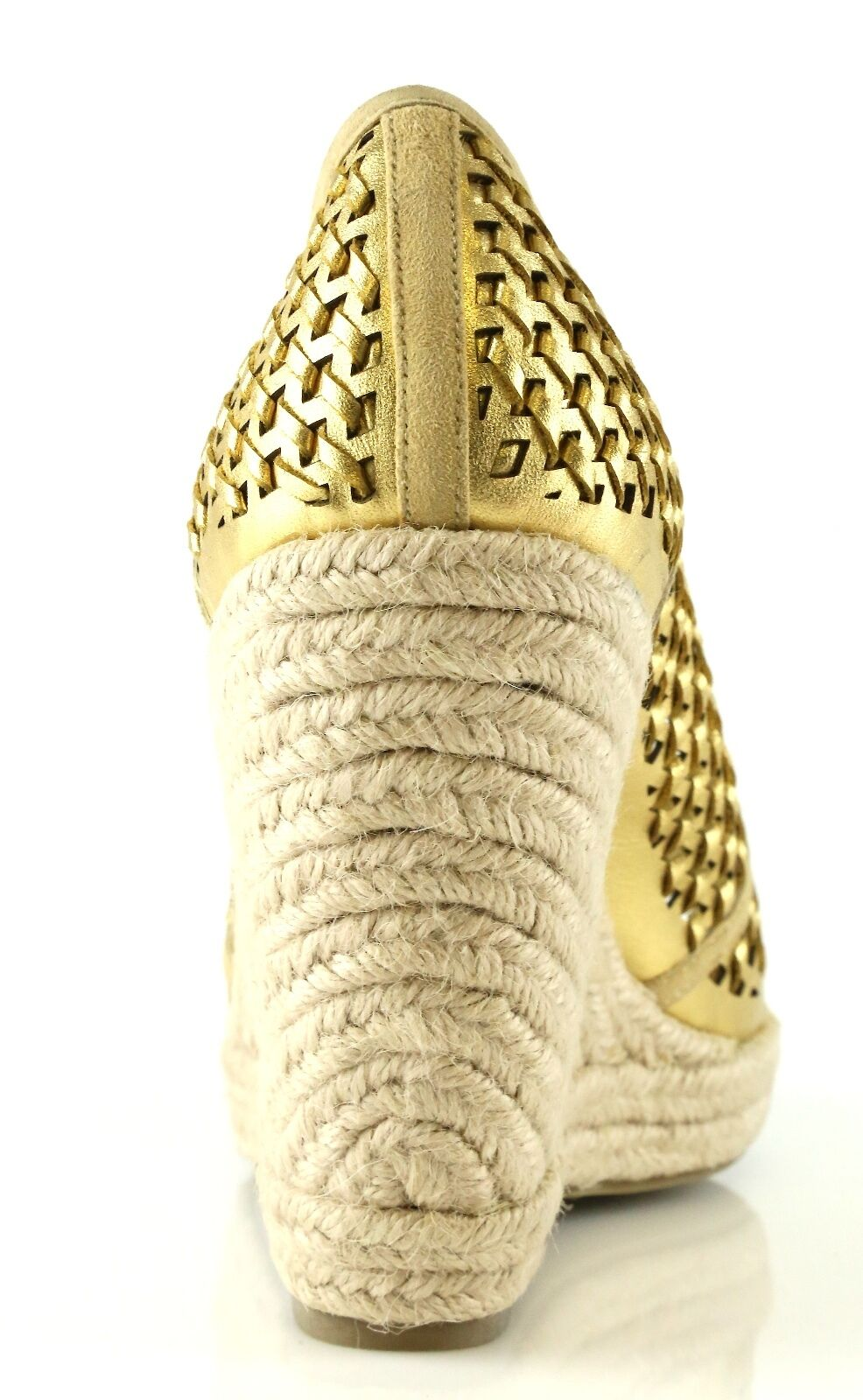 Juicy Couture KINDER Gold Woven 7023 Distressed Leather Wedge Sandals 7023 Woven Size 7.5 M 4a2a8b