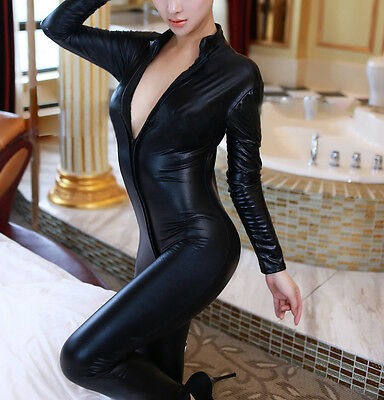 New Black Leather Catwoman False Wetlook Jumpsuit Catsuit Clubwear Fancy Dress