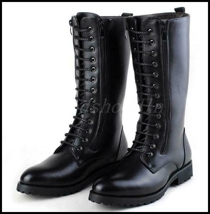 Fashion Mens Zip Lace up Military Knee High Long Combat Boots Retro Knight Shoes