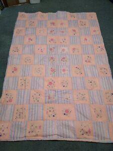 "Handmade Quilt / blanket / throw 60"" x 44""  Baby Girl pink  flowers Heavy"