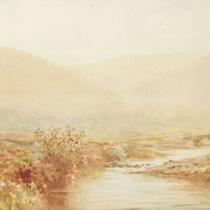 Antique-painting-landscape-watercolour-A-Cox-early-20th-century-English-river