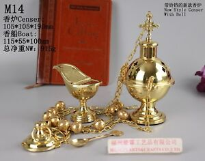 Brass-Censer-Incense-Burner-with-Bell-and-Boat-for-Church-M14