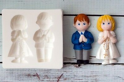 Silicone Mould Holy Communion Confirmation Praying Children Boy Girl    M0200