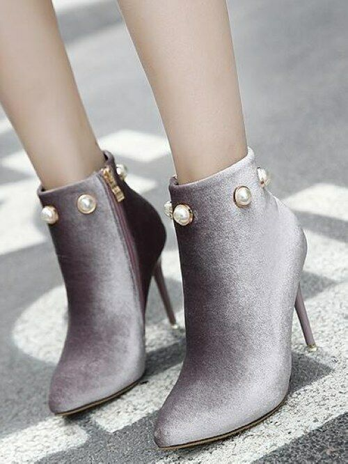 stivali stivaletti stiletto bassi grigio perla eleganti 9.5 simil pelle CW954