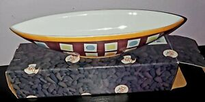 Repeat Essence by Living Art Set of 2 Ceramic Boat Serving Bowl.