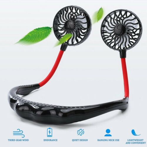 Portable USB Rechargeable Neckband Dual Cooling Lazy Fan Mini Neck Hanging Style