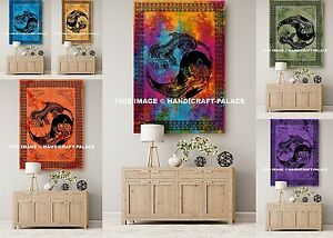 Dragon-Print-Indian-Tapestry-Beach-Throw-5-PC-Wholesale-Lot-Indian-Wall-Hanging