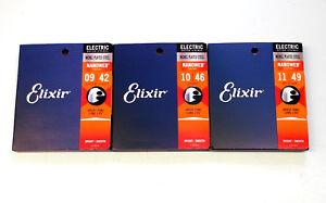 3er Pack E Gitarrensaiten Elixir Nanoweb Nickel plated steel guitar strings