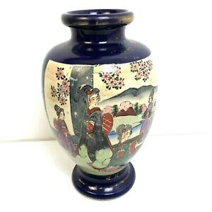 Japanese-Vase-11-039-Geisha-Girls-Blue-Gold-Ancient-Scene-Asian-Art-Ceramic