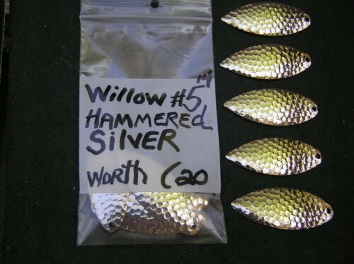 WILLOW  #5 SPINNERBAIT BLADES  HAMMERED SILVER  PACK OF 20