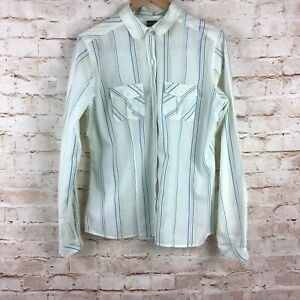 Patagonia-Womens-Striped-Button-Down-Front-Pocket-Blouse-Top-Size-XL