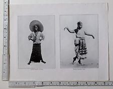c1900 ANTIQUE CEYLON PRINT ~ YOUNG STREET URCHIN ~ NAUCH DANCING GIRL