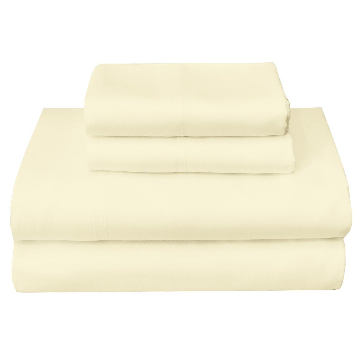 100% Cotton Ivory Solid Wrinkle Resistant Luxury Soft Sheet Set 300 TC