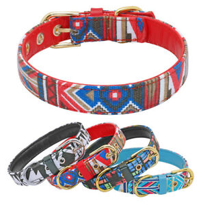 Bohemian-Dog-Collar-Leather-Padded-for-Small-to-Large-Dogs-Nylon-Walking-Collar
