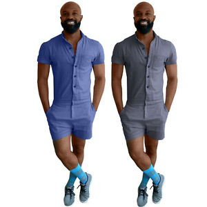 7b1df827f48 Image is loading Men-Casual-Short-Sleeve-Chambray-Jumpsuits-Short-Trouser-