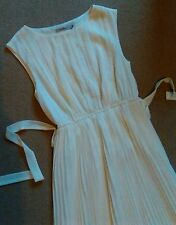 SEXY DARLING LONDON CREAM OFF WHITE PRETTY PLEATED MAXI DRESS SIZE 10 NEW