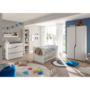 Babyzimmer 2 Marra Komplett Set 3 Tlg Mdf Weiss Hochglanz Eiche