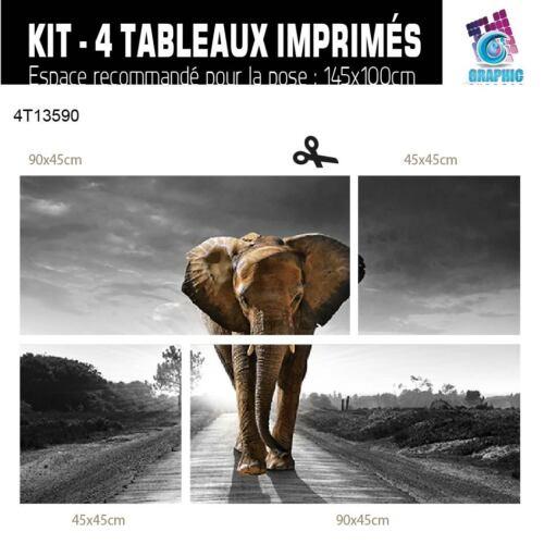 EL-10-BL-ND-COLORS TABLEAU ELEPHANT BAFRICA ART DECO MURALE ANIMAUX