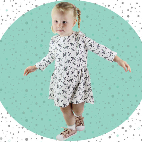 Feather Print Dress Baby Outfit Organic Baby Clothes Baby Clothing