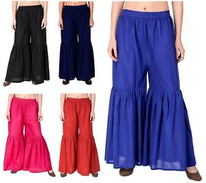 Girls-Pant-Regular-Fit-Plain-Sharara-Leggings-Gypsy-Boho-Casual-Festival