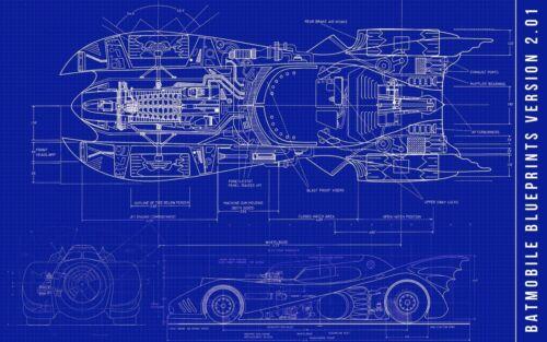 """Batman Blue DC Comics Blueprints Batmobile Car Poster 36x24 18x12/"""" Decor"""