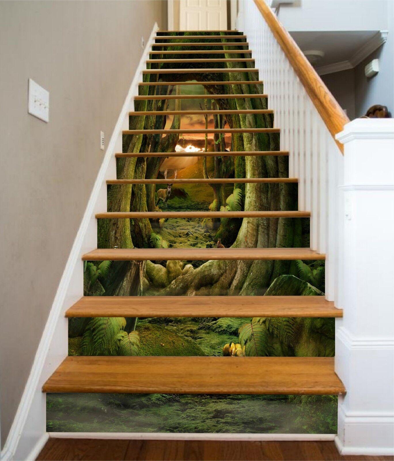 3D Forest Deer Stair Risers Decoration Photo Mural Vinyl Decal Wallpaper UK