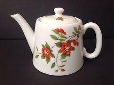 Apilco White Porcelain Teapot Red Wild Rose Flowers Green Leaves~France