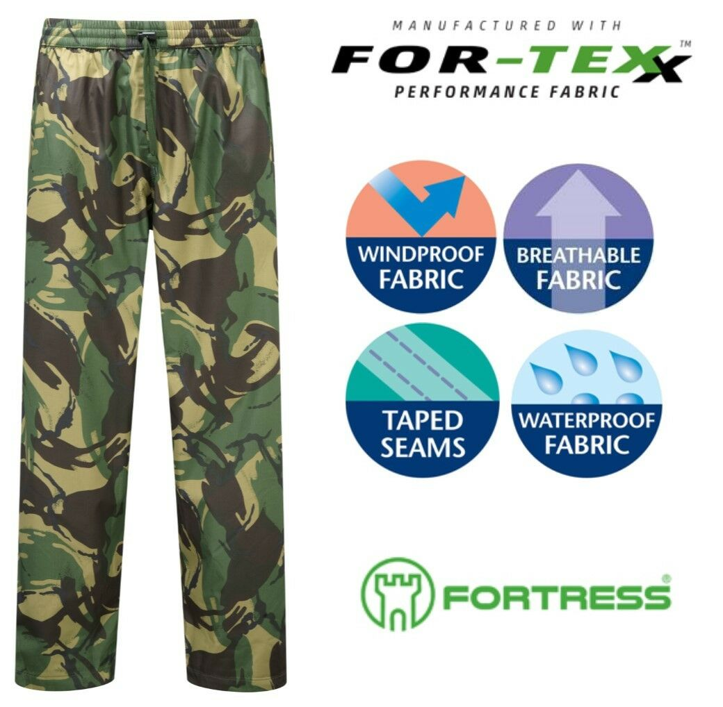Fortress Tempest PREMIUM Waterproof Breathable Windproof Over Trousers Camo Hike