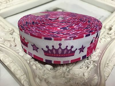 New 1 Metre Fuschia Pink Perforated Flower Grosgrain Ribbon 22mm Cakes Bow Dummy