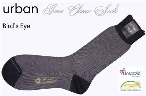 URBAN fine Classic Socks Bird/'s Eye FILOSCOZIA NERO sale 80/%